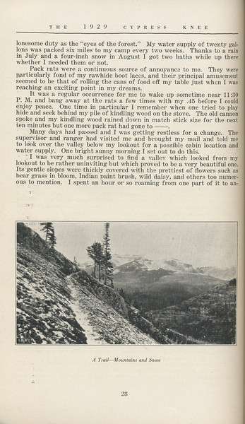 """The Cypress Knee, 1929, """"Winds From a Lookout"""", W. G. Wallace, """"A Trail- Mountains and Snow"""", pg. 28"""