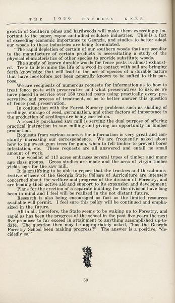 "The Cypress Knee, 1929, ""Georgia's Forest School Shows Progress"", K. S. Trowbridge, pg. 38"
