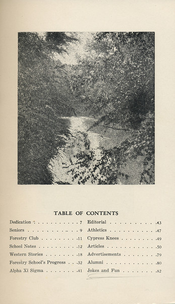 The Cypress Knee, 1929, Table of Contents