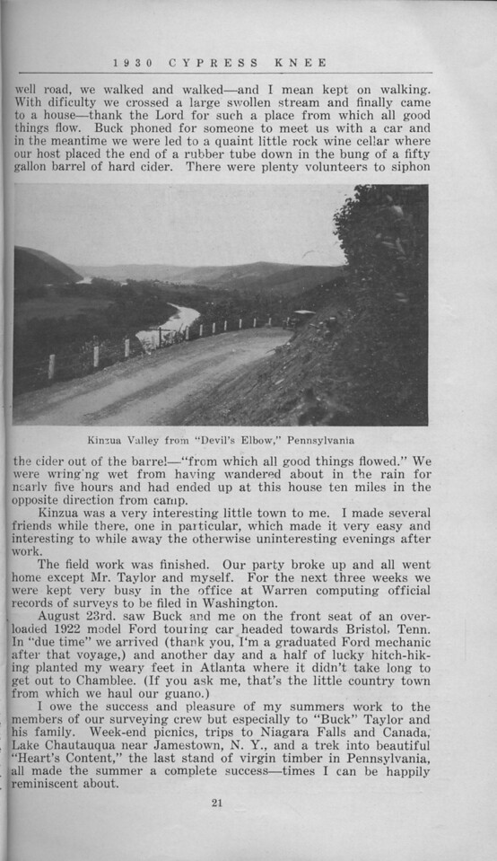 """The Cypress Knee, 1930, """"Reminiscenses of a Summer in Pennsylvania"""", W. G. Wallace, """"Kinsoa Valley from 'Devil's Elbow,' Pennsylvania"""", pg. 21"""