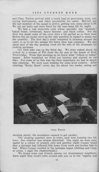 "The Cypress Knee, 1930, ""Camp Walnut Adventures"", E. L. Massey, ""Camp Walnut"", pg. 14"