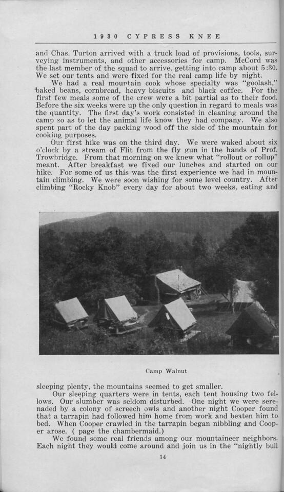 "The Cypress Knee, 1930, ""Camp Walnut Adventures"", E. L. Massey, ""Camp Walnut"", pg. 14"