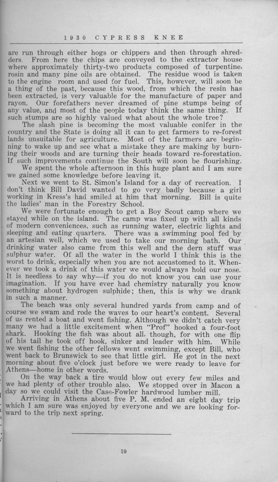 "The Cypress Knee, 1930, ""Our Annual Trip to South Georgia"", E. F. Boyd, pg. 19"