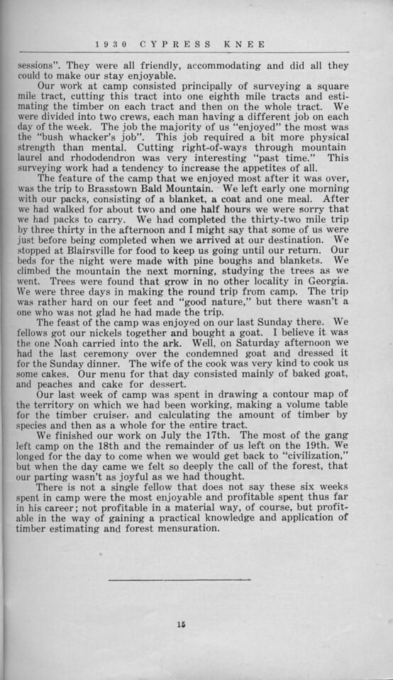 "The Cypress Knee, 1930, ""Camp Walnut Adventures"", E. L. Massey, pg. 15"