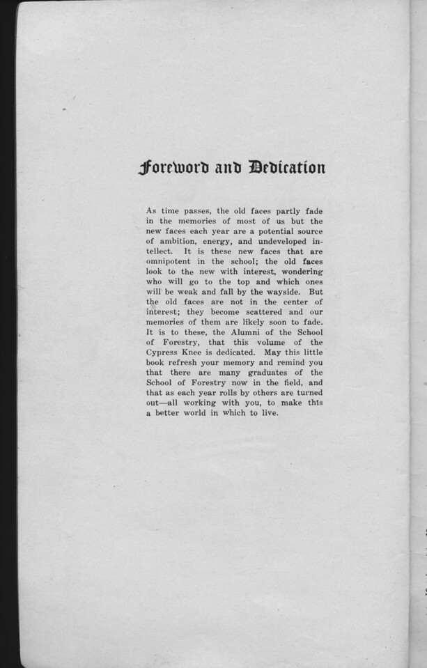 The Cypress Knee, 1930, Foreword and Dedication