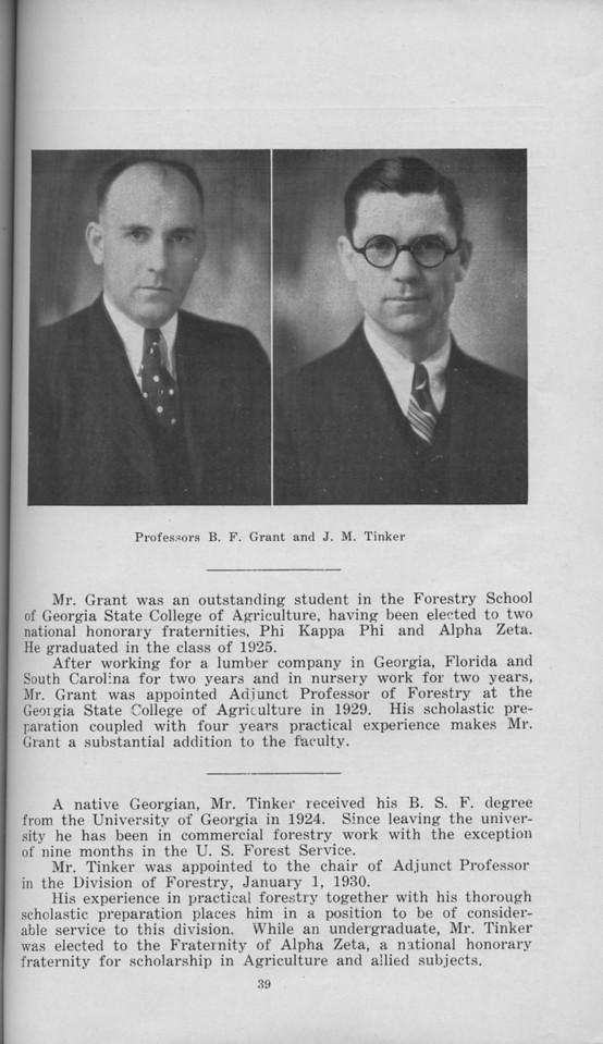 The Cypress Knee, 1930, Staff Page, B. F. Grant, J. M. Tinker, pg.39