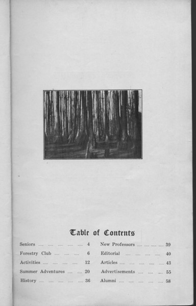 The Cypres Knee, 1930, Table of Contents