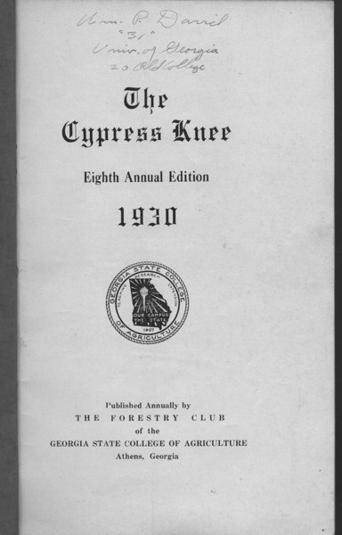 The Cypress Knee, 1930, Title Page