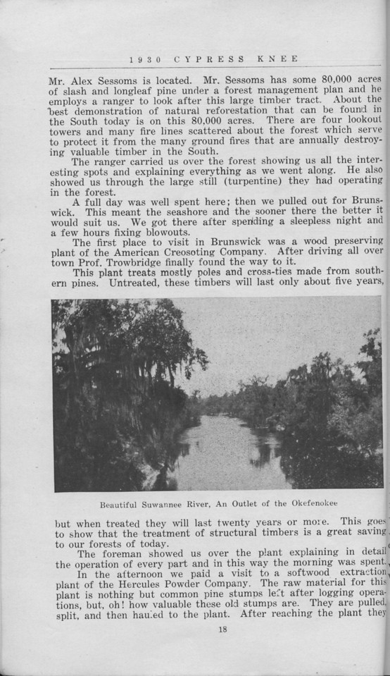 """The Cypress Knee, 1930, """"Our Annual Trip to South Georgia"""", E. F. Boyd, """" Beautiful Suwanee River, An Outlet of the Okefenokee"""", pg. 18"""
