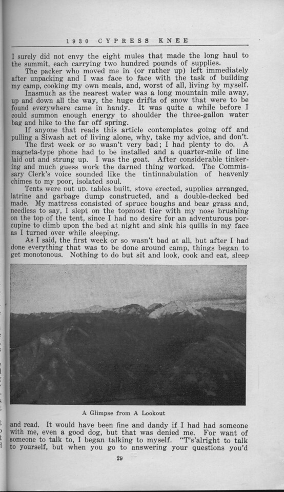 """The Cypress Knee, 1930, """"'Hell's Half-Acre' Lookout"""", W. P. David, """"A Glimpse from A Lookout"""", pg. 29"""