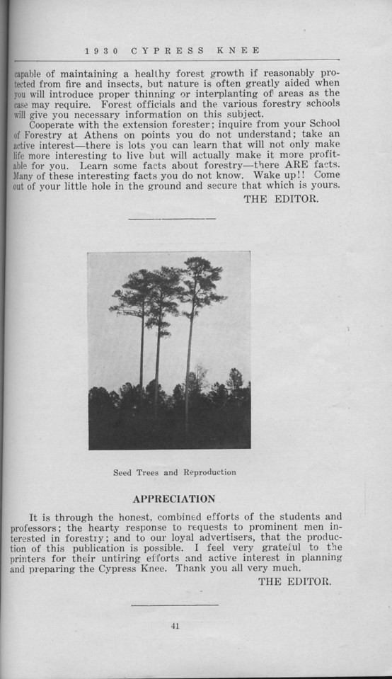 """The Cypress Knee, 1930, """"To the Citizens of Georgia and Patrons of the Cypress Knee"""", """"Seed Trees and Reproduction"""", pg. 41"""