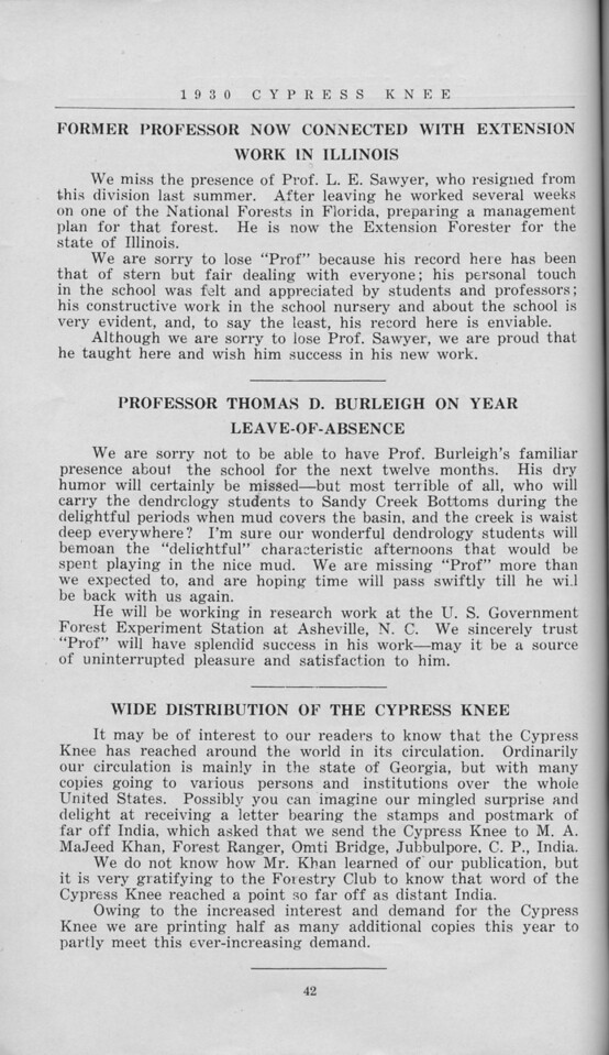 The Cypress Knee, 1930, A Note to the Readers, pg. 42