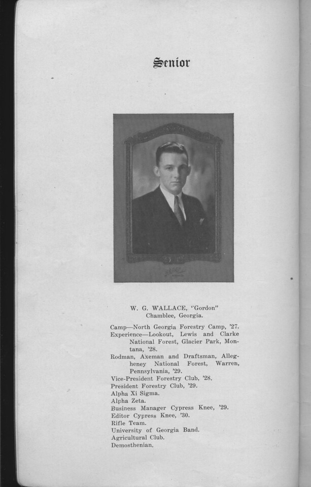 The Cypress Knee, 1930, Senior Page, W. G. Wallace, pg. 4