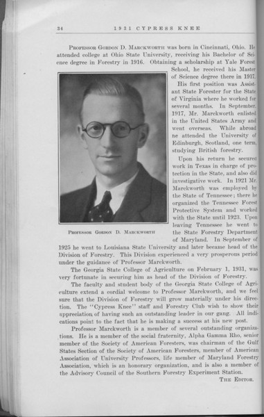 "The Cypress Knee, 1931, ""Public Relations in Forestry"", R. D. Franklin, Professor Gordon D. Marckworth, pg. 34"