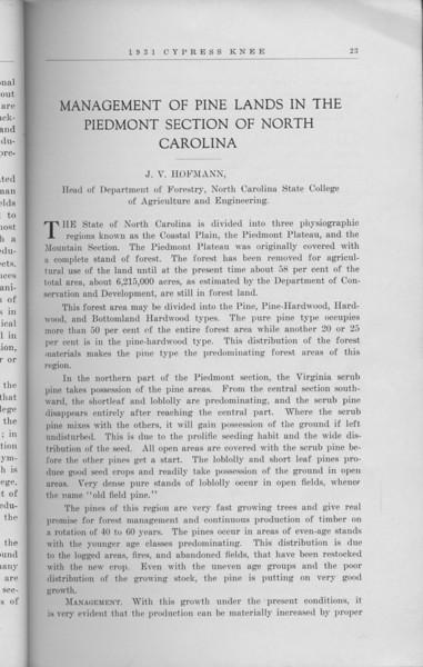 "The Cypress Knee, 1931, ""Management of Pine Lands in the Piedmont Section of North Carolina"", J. V. Hofmann, pg. 23"