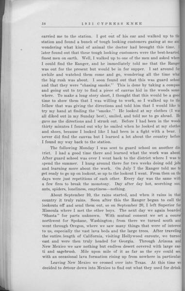 "The Cypress Knee, 1931, ""Westward, Ho!"", R. D. Franklin, pg. 38"