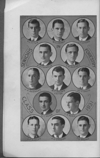 The Cypress Knee, 1931, Senior Class, R. U. Titus, W. C. Henry, J. F. Spiers, R. D. Franklin, T. P. Hursey, J. H. Rasnake, M. T. Brown, W. R. David, C. R. Ross, H. C. Hebb, J. F. Manley, J. G. Grozine, T. H. Brown, pg. 4