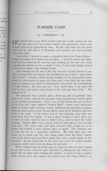 "The Cypress Knee, 1931, ""Summer Camp"", Peterkin, pg. 17"