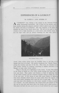 "The Cypress Knee, 1931, ""Experiences of a Lookout"", James F. Spiers, ""The Lookout Takes a Look"", pg. 42"