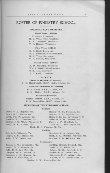 The Cypress Knee, 1931, Forestry Club Roster, J. F. Spiers, R. U. Titus, C. M. Clements, T. P. Hursey, H. C. Hebb, R. D. Franklin, C. H. Tarton, Wm. P. David, C. R. Ross, B. C. Cobb, T. H. Brown, M. T. Brown, J. G. Grozine, W. C. Henry, J. F, Manley, J. H. Rasnake, J. F. Cole, J. W. Cooper, I. W. Miller, C. A. Rowland, R. L. Reid, J. D. Strange, R. W. Adames, N. E. Brooks, B. C. Cobb, H. A. Compton, J. D, Fountain, J. M. Jones, Ernest Nutting, H. G. Peele, R. W. Reiger, C. H. Turton, D. P. Ventaulett, D. C. Walker, pg. 11