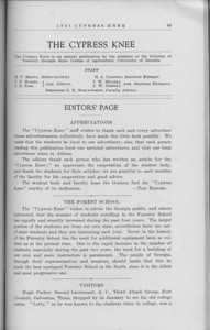 The Cypress Knee, 1931, Editor's Page, pg. 49