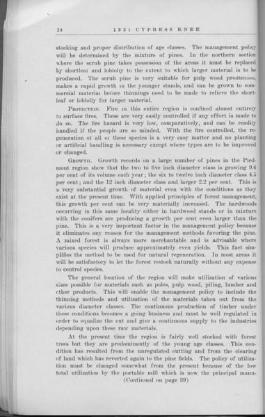 "The Cypress Knee, 1931, ""Management of Pine Lands in the Piedmont Section of North Carolina"", J. V. Hofmann, pg. 24"