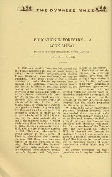 """The Cypress Knee, 1934, """"Education in Forestry-- A Look Ahead"""", Cedric H. Guise, pg. 34"""