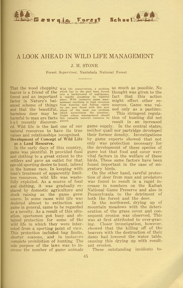 """The Cypress Knee, 1934, """"A Look Ahead in Wild Life Management"""", J. H. Stone, pg. 45"""