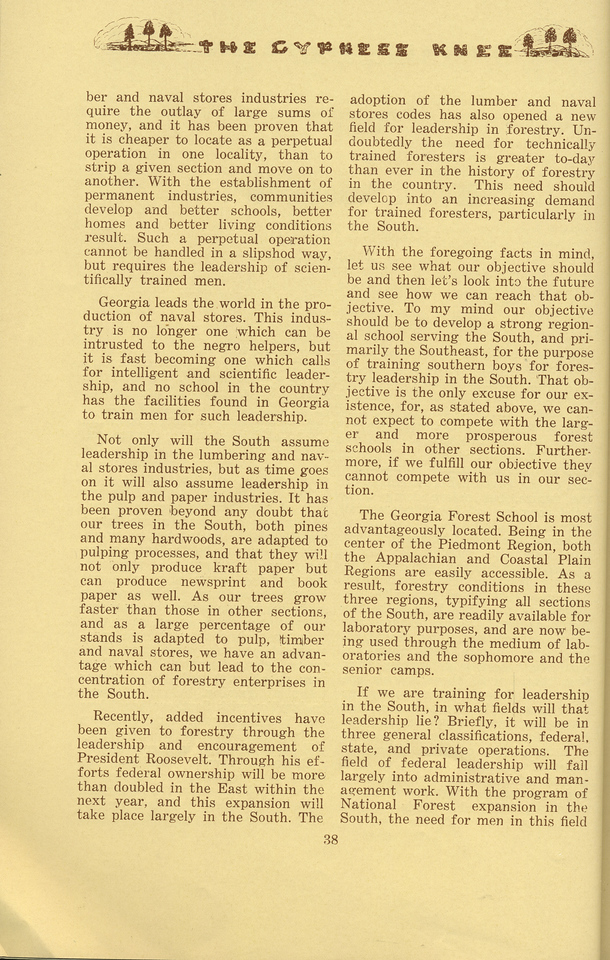 """The Cypress Knee, 1934, """"The Georgia Forest School of the Future"""" (continued), G. D. Marckworth, pg. 38"""