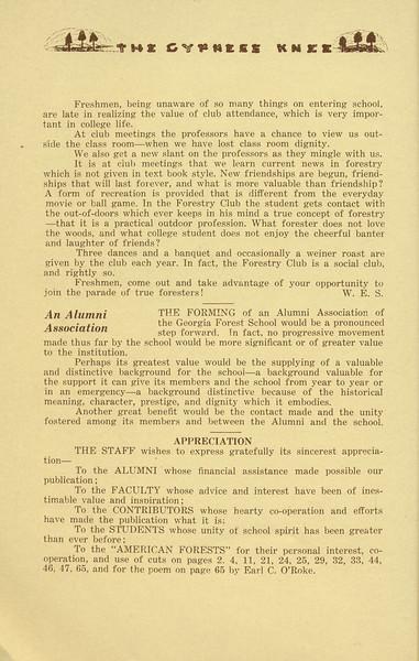The Cypress Knee, 1934, Editorials, Appreciation, pg. 10