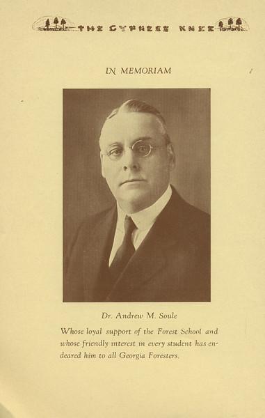 The Cypress Knee, 1934, In Memoriam, Dr. Andrew M. Soule, pg. 6