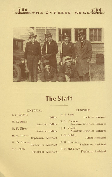 The Cypress Knee, 1934, The Staff, J. C. Mitchell, W. S. Black, M. F. Nixon, H. O. Stewart, W. O. Stewart, J. L. Gillis, W. L. Lane, F. V. Godwin, G. L. Merritt, A. R. Shirley, J. R. Gramling, R. B. McGregor, pg. 8