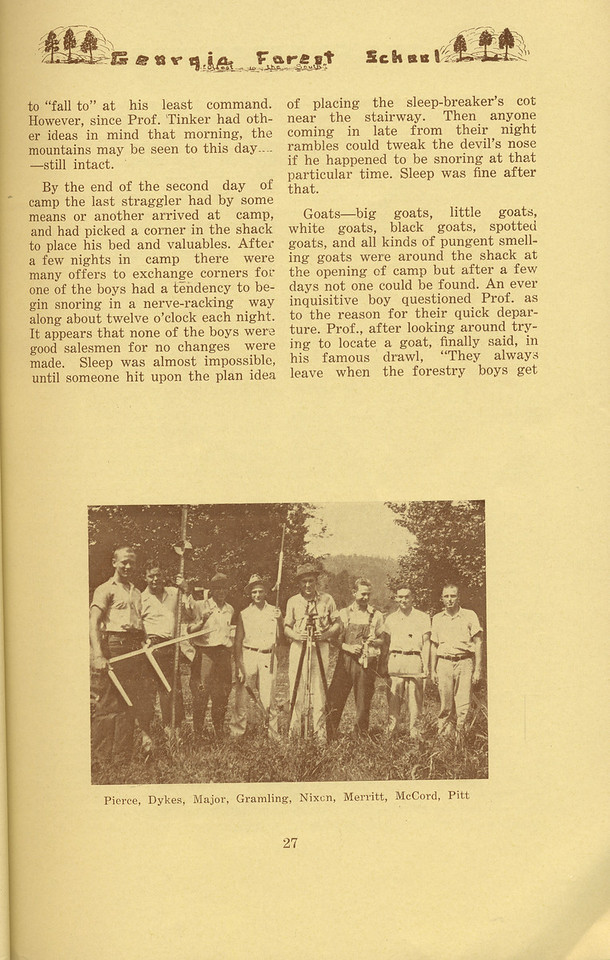 """The Cypress Knee, 1934, """"Freshman Summer Camp"""" (continued), Marvin E. Nixon, pg. 27"""