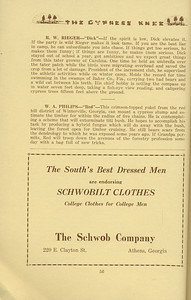 """The Cypress Knee, 1934, """"Seniors- Packin' Out"""", R. W. Rieger, W. A. Philips, The Schwob Company, pg. 56"""