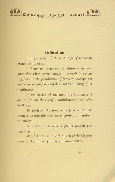 The Cypress Knee, 1934, Dedication, pg. 5