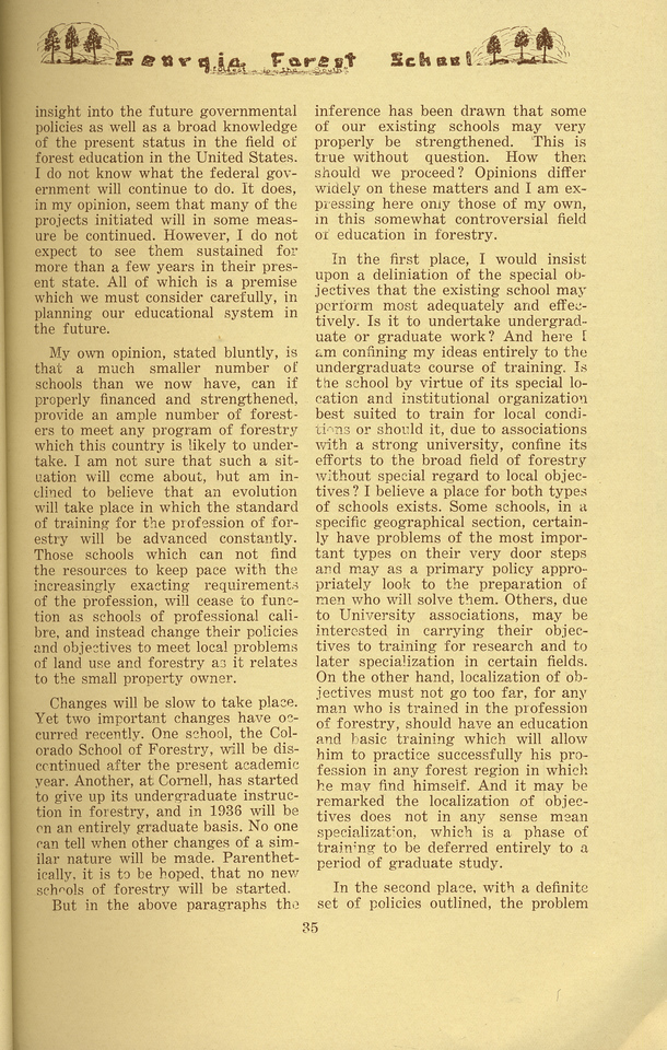"""The Cypress Knee, 1934, """"Education in Forestry-- A Look Ahead"""" (continued), Cedric H. Guise, pg. 35"""