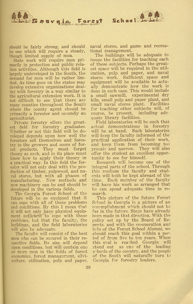 """The Cypress Knee, 1934, """"The Georgia Forest School of the Future"""" (continued), G. D. Marckworth, pg. 39"""