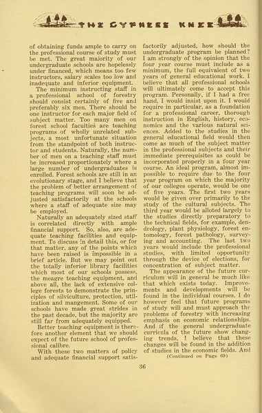 """The Cypress Knee, 1934, """"Education in Forestry-- A Look Ahead"""" (continued), Cedric H. Guise, pg. 36"""