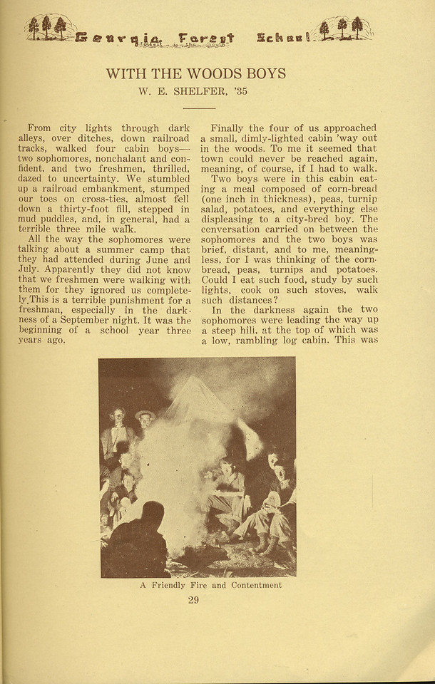 """The Cypress Knee, 1934, """"With the Woods Boys"""", W. E. Shelfer, """"A Friendly Fire and Contentment"""", pg. 29"""