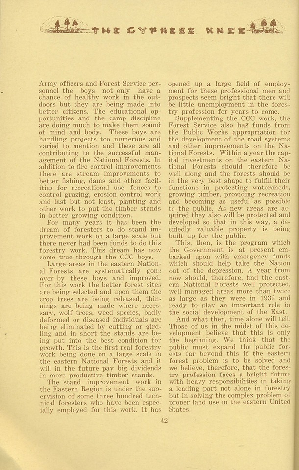 """The Cypress Knee, 1934, """"Recent and Future Development the Eastern National Forests"""" (continued), Joseph C. Kircher, pg. 42"""