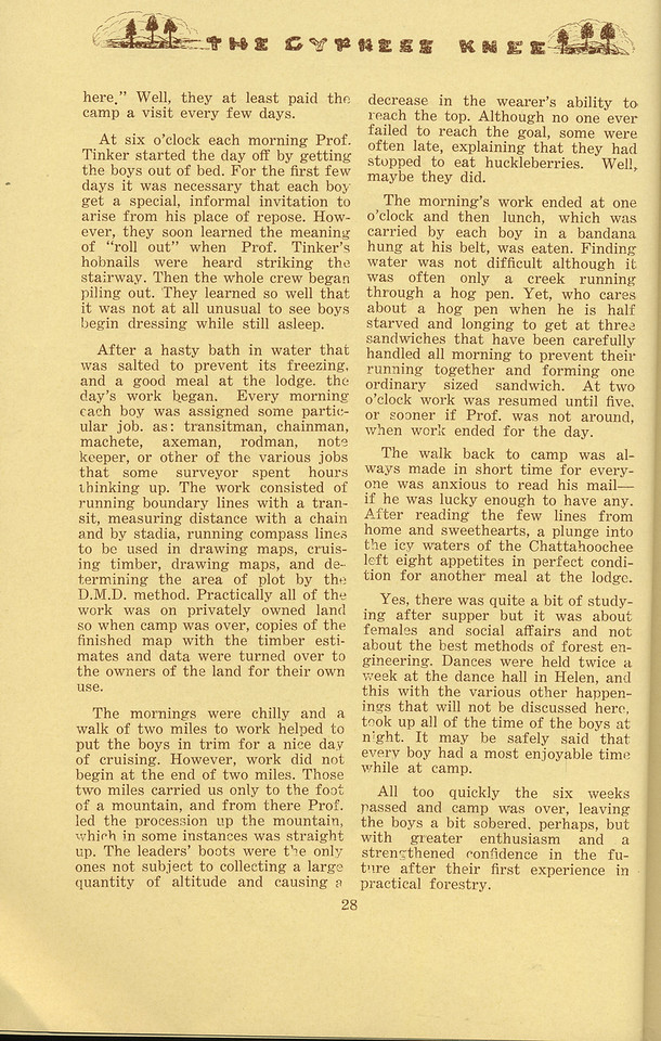 """The Cypress Knee, 1934, """"Freshman Summer Camp"""" (continued), Marvin E. Nixon, pg. 28"""