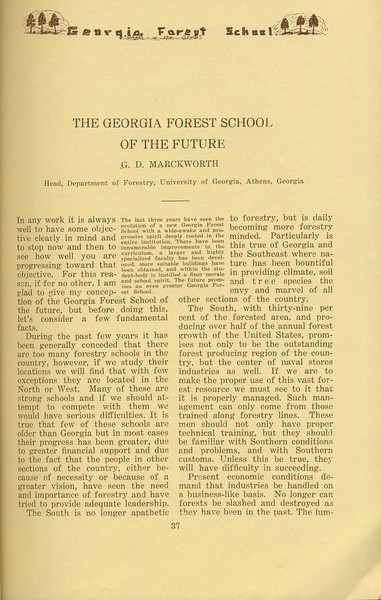 """The Cypress Knee, 1934, """"The Georgia Forest School of the Future"""", G. D. Marckworth, pg. 37"""