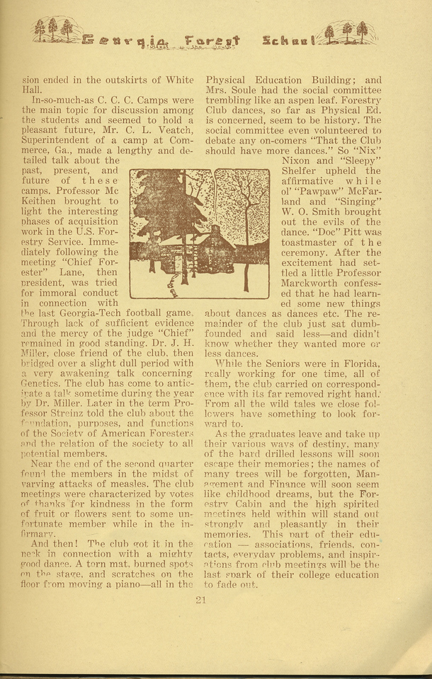 """The Cypress Knee, 1934, """"The Forestry Club"""" (continued), W. S. Black, pg. 21"""