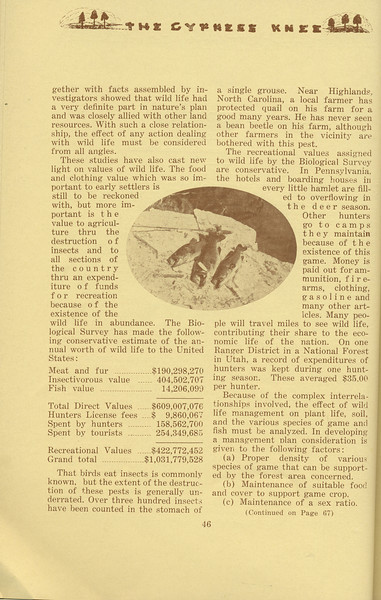 """The Cypress Knee, 1934, """"A Look Ahead in Wild Life Management"""" (continued), J. H. Stone, pg. 46"""