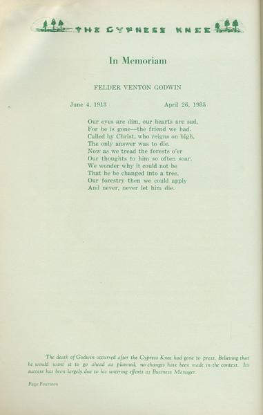 The Cypress Knee, 1935, In Memoriam, Felder Venton Godwin, pg. 14