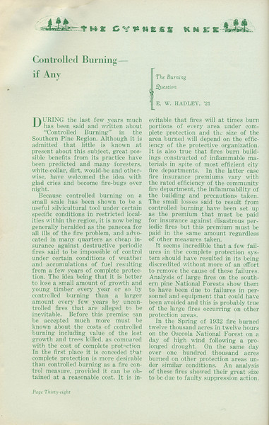 """The Cypress Knee, 1935, """"Controlled Burning- If Any"""", E. W. Hadley, pg. 38"""