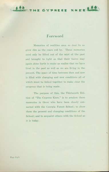 The Cypress Knee, 1935, Foreword, pg. 8
