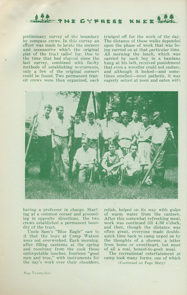 """The Cypress Knee, 1935, """"Summer Camp"""" (continued), Robert W. Minear, pg. 24"""