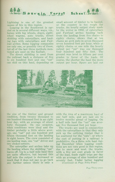 """The Cypress Knee, 1935, """"Logging on the Kaibab National Forest"""" (continued), F. J. Monighan, pg. 37"""
