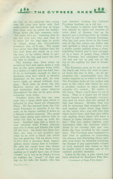 """The Cypress Knee, 1935, """"Timber Stand Improvement"""" (continued), J. W. Cooper, pg. 44"""